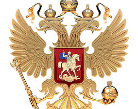 Coat of arms of Russia with golden eagle 3D