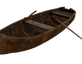 3D model Old wooden rowing boat