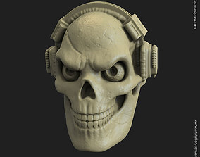 Skull with headphone vol3 ring 3D print model