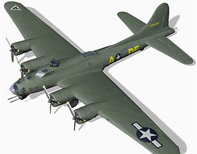 3D model rigged B 17G Flying Fortress for Unity