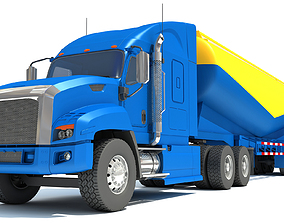 3D Truck with Tanker Trailer