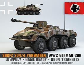 Low Poly SdKfz 234 4 Pakwagen 3D asset game-ready