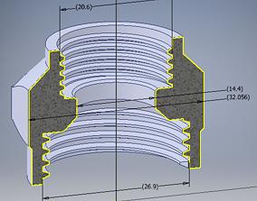 3D print model Garden hose ADAPTER 34 in to 1 in 20 mm 4