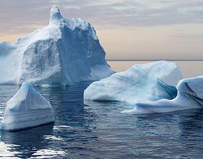 Iceberg pack - low poly 3D model