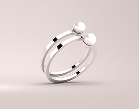 RING---Twisted with two pearls 3D asset