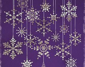 3D Glass Snowflakes