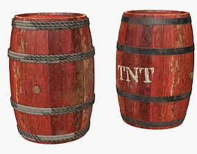 Wooden Barrels Assets 1 game-ready