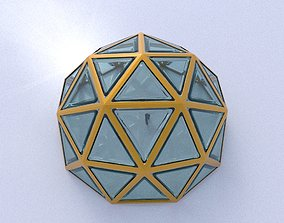 Geodesic dome structure with frame and glass panels 3D