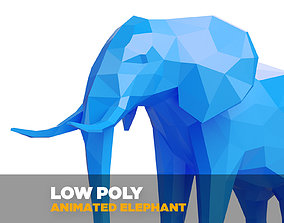 3D model Rigged Elephant seamless walk cycle -