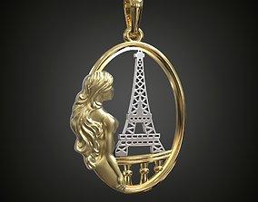 Necklace Paris Eiffel Tower Girl 3D print model