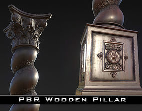 3D asset PBR Wooden Pillar