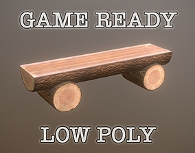 3D asset game-ready Log Bench low-poly game ready