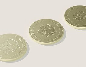 3D asset Pokemon coins starter collection