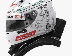 3D model Sebastian Vettel 2015 style Racing helmet