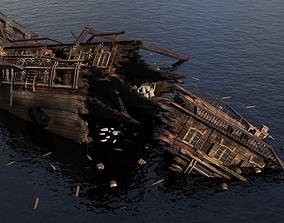 Sailing wreck Shipwreck 3D model