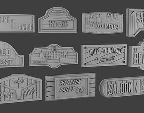 signboards Wild West 3D printable model