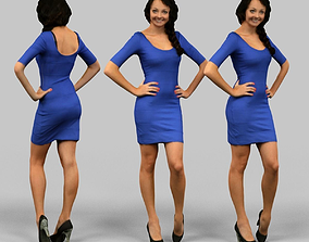 Dark Blue Dress Girl 3D asset