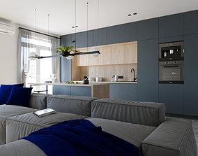 Dark grey kitchen 3D
