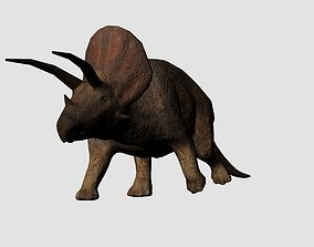 3D model Rigged Animated Low Poly Triceratops Dinosaur
