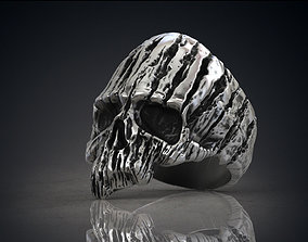 Ring of a wooden skull Skull of Groot STL for 3d