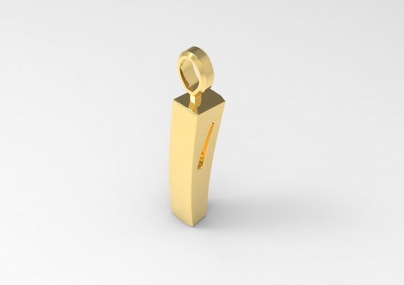 I Letter Pendant Gold modeled