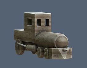 wooden toy locomotive 3D asset