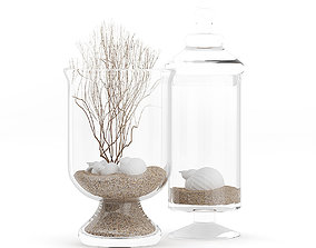 3D model Glass Containers with Sand and Shells