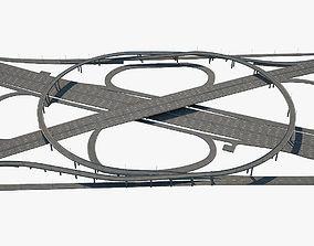 Highway Road Junction 3D model asphalt