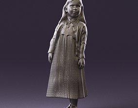 000994 little girl in blue dress 3D Print Ready