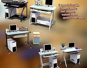 Office Set office-furniture 3D model VR / AR ready