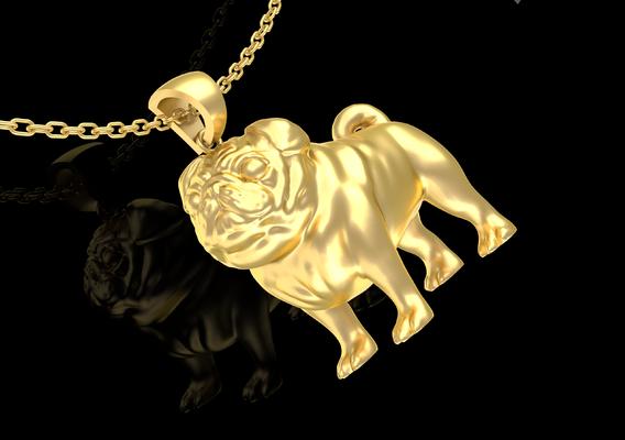 Bulldog Pendant jewelry Gold 3D 3D print model