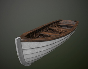 Wooden Boat 3D model game-ready