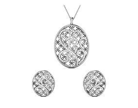 sterling Women pendant-earrings set 3dm render detail