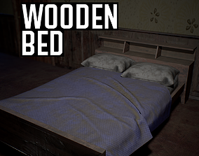 Wooden Bed 3D model low-poly