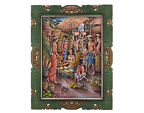 Balinese picture green frame rural 3D model