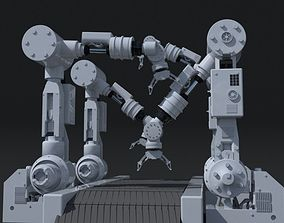 Industrial Robotic Arm 3D model animated