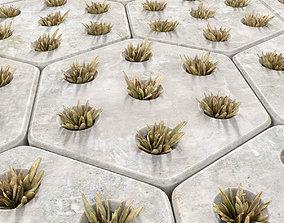 Paving hexagon grass 3D model