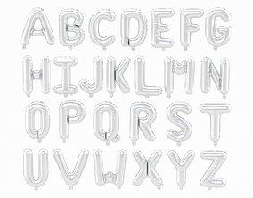 3D Balloon Alphabet Silver