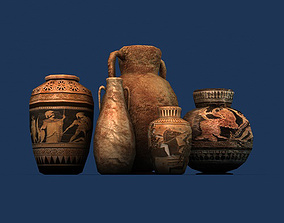 3D asset Low poly greek pottery