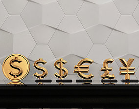 3D print model icons of world currencies