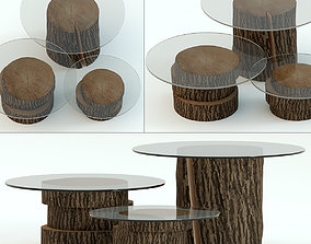 Dark stump tables with glass worktops 3D model