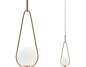 Fixture hanging Loop Brass lamp 3D