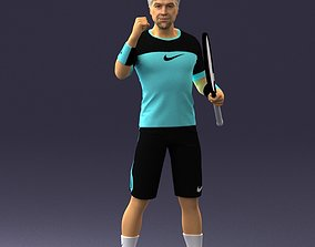 3D model 3dscan Male tennis player with racket 0460