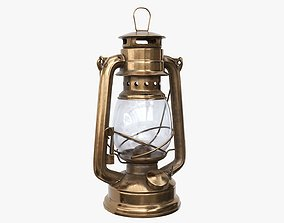 Old kerosene metal lamp 01 3D model