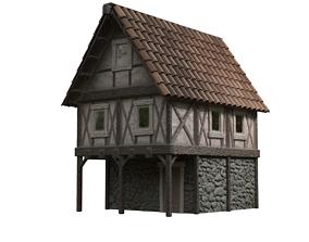 old 3D model VR / AR ready Medieval House