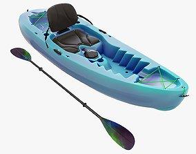 Kayak 02 and paddle 3D