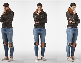 Rosanna 03 Woman posed standing in casual jeans 3D model