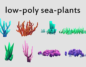 3D asset seaweed coral underwater plant aquatic