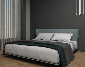 contemporary Modern Bed With Bedding 3D model