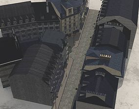 European Street in obj and fbx format architectural 3D